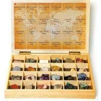 Caja de Madera Colección de Minerales del Mundo (24 Uds.)